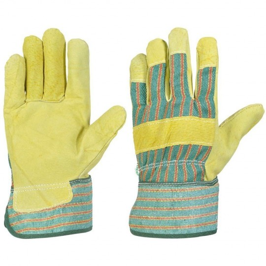 Garden glove leather and striped canvas